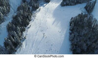 recours, vue, aérien, ski