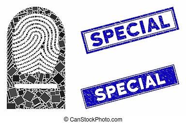 rectangle, spécial, gratté, doigt, filigranes, mosaïque, impression