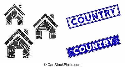 rectangle, timbres, mosaïque, village, gratté, bâtiments
