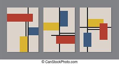 rectangles, gabarit, brochure, retro, minimal, modèle, coloré, lignes, fond, ensemble, style, géométrique