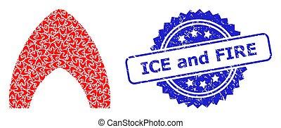 recursive, brûler, icône, glace, cachet, timbre, collage, caoutchouc