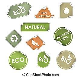 recyclage, étiquettes, eco