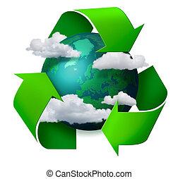 recyclage, climat, concept, changement