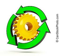 recyclage, engrenage, flèche