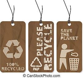 recyclage, ensemble, grunge, trois, étiquettes