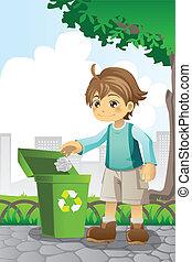 recyclage, garçon, papier