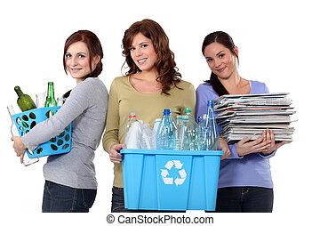 recyclage, gaspillage, conjugal, femmes