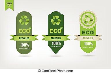 recycler, écologique, étiquettes