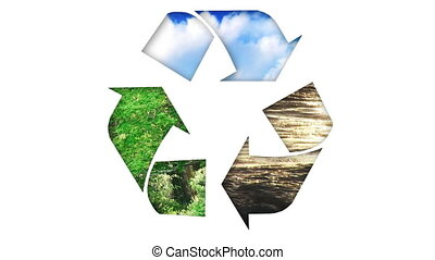 recycler, animation, icon., concept, écologie