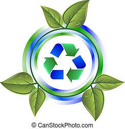 recycler, feuilles, vert, icône