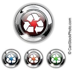 recycler, icône, vecteur, bouton, illust
