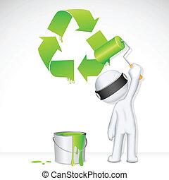 recycler, vecteur, peinture, homme, 3d