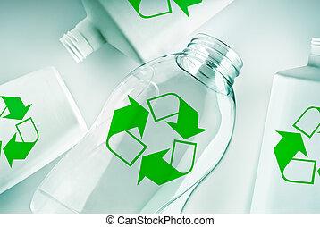 recyclez symbole, récipients, plastique