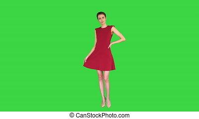 redresse, key., vert, girl, rouges, chroma, robe, elle, robe, poser, écran