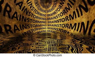 reflété, brain-storming, eau, texte