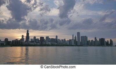 reflété, chicago, horizon, lac