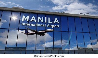 reflété, manille, avion, terminal, atterrissage