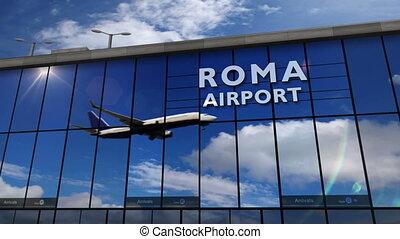 reflété, terminal, roma, atterrissage avion