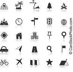 refléter, blanc, emplacement, fond, icônes