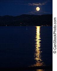 refléter, entiers, lac, surface, lune