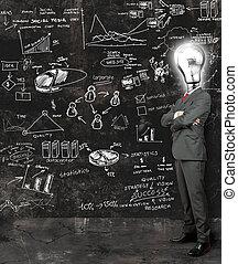 refléter, homme affaires, idées, nouveau