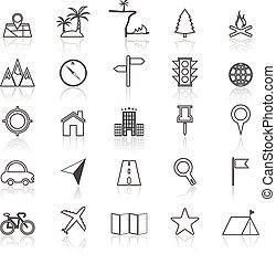 refléter, ligne, blanc, emplacement, icônes