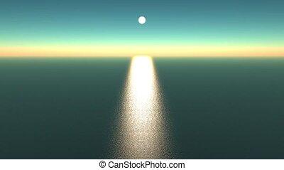 refléter, océan, éclat, lumière soleil