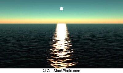refléter, soleil, ocean.
