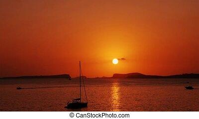 refléter, vagues, coucher soleil, mer