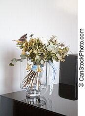 reflet, copyspace, bouquet, surface, vase, verre, noir, reflété, fleurs, table, séché