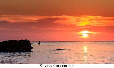 reflet, lumière soleil, coucher soleil, bateau, au-dessus, rocher, orange, mer