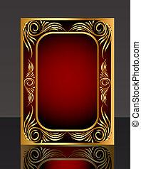 reflet, modèle, cadre, gold(en)