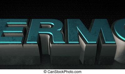 reflet, texte, métal, cyber, mondey, 3d