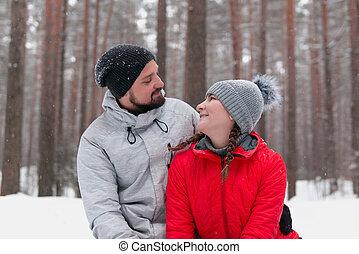 regard, parc, hiver, chaque, couple, jeune, autre, amour
