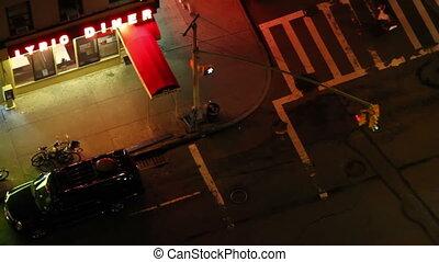 regarder bas, york, nuit, nouveau, trottoir, sur