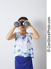 regarder, binoculaire, girl, enfant
