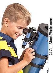 regarder, blanc, télescope, enfant