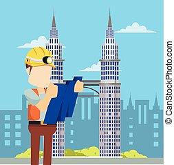 regarder, bleu, ouvrier construction