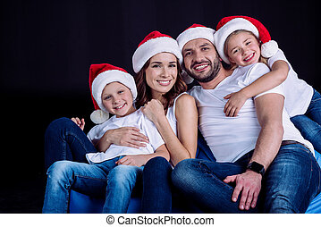 regarder, chapeaux, appareil photo, santa, famille