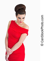 regarder, charmant, femme, robe, rouges