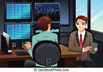 regarder, commerçant, moniteurs, marché, stockage