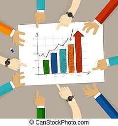 regarder, concept, barre, bureau affaires, collaboration, travail, diagramme, main, augmentation, planification, papier, mains, groupe, pointage, équipe, dessin