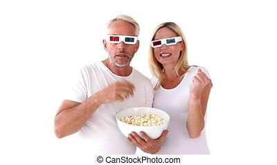 regarder, couple, film, 3d
