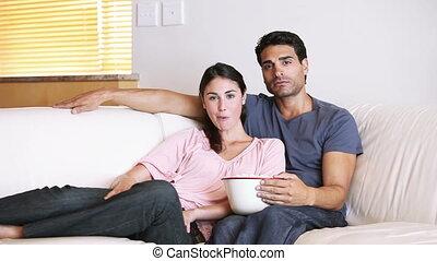 regarder, couple, film