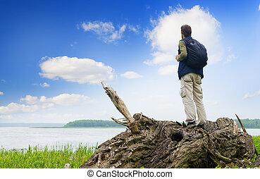 regarder, distance, touriste