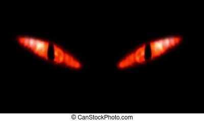 regarder, eyes., animation, ardent, mal