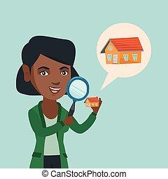 regarder, femme, house., jeune, african-american