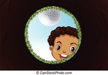 regarder, garçon, trou, golf