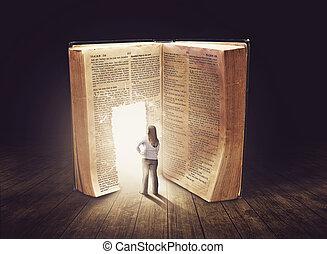 regarder, grand, femme, livre