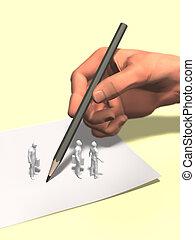 regarder, grand, illustration, main, sous, écriture, 3d